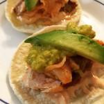 A fusion taco of sorts: Salmon Taco with sesame sriracha…